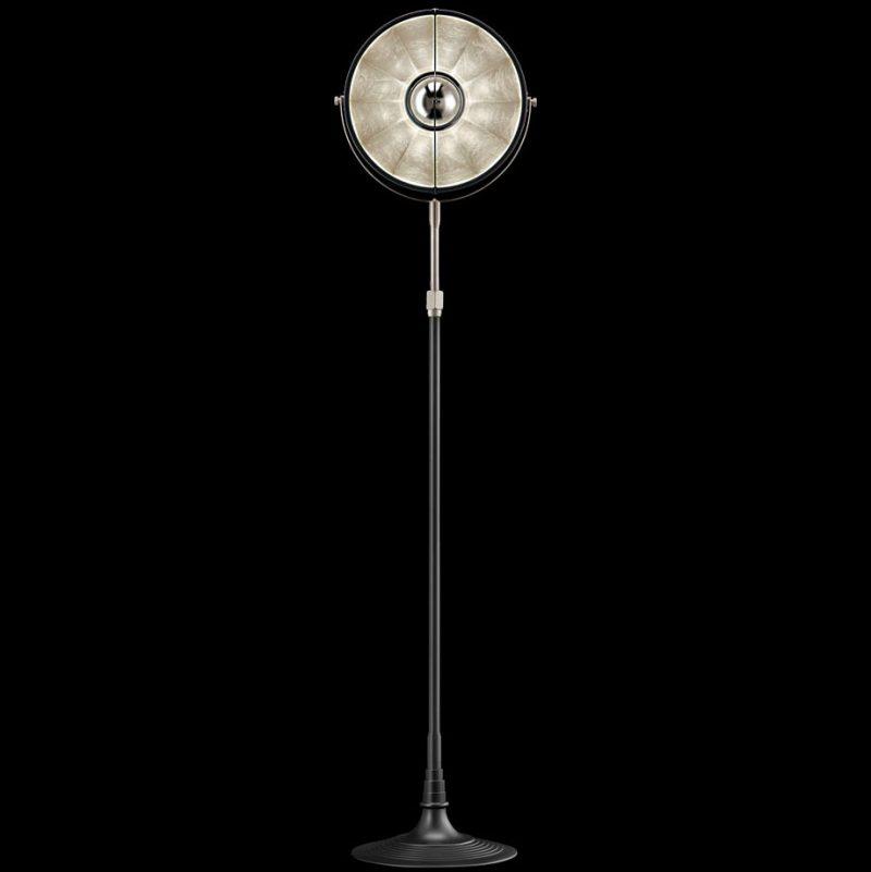 Lámpara de pie Fortuny Atelier 32 negra y pan de plata