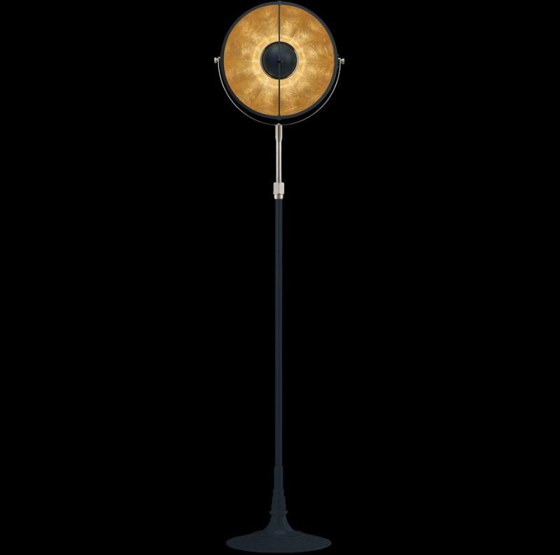 Lámpara de pie Fortuny Atelier 32 azul pastel y pan de oro
