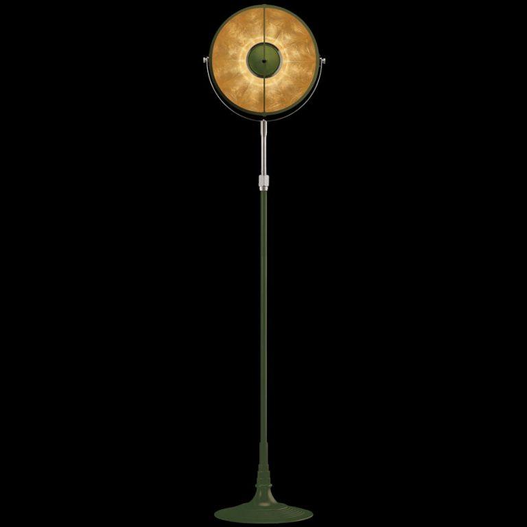 Lámpara de pie Fortuny Atelier 32 verde pastel y pan de oro