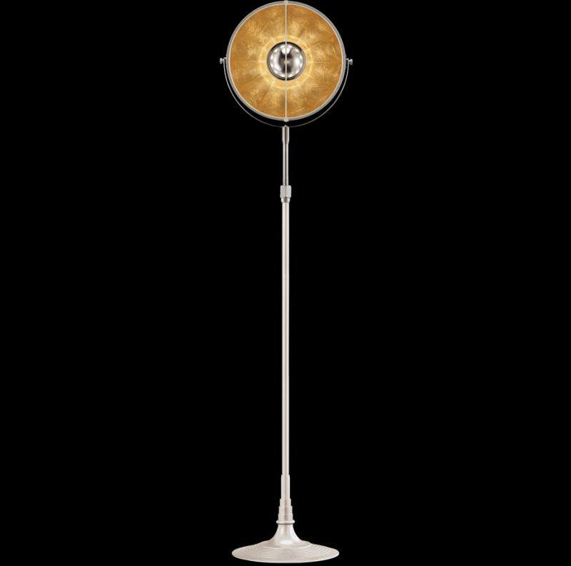 Lámpara de pie Fortuny Atelier 32 blanca y pan de oro