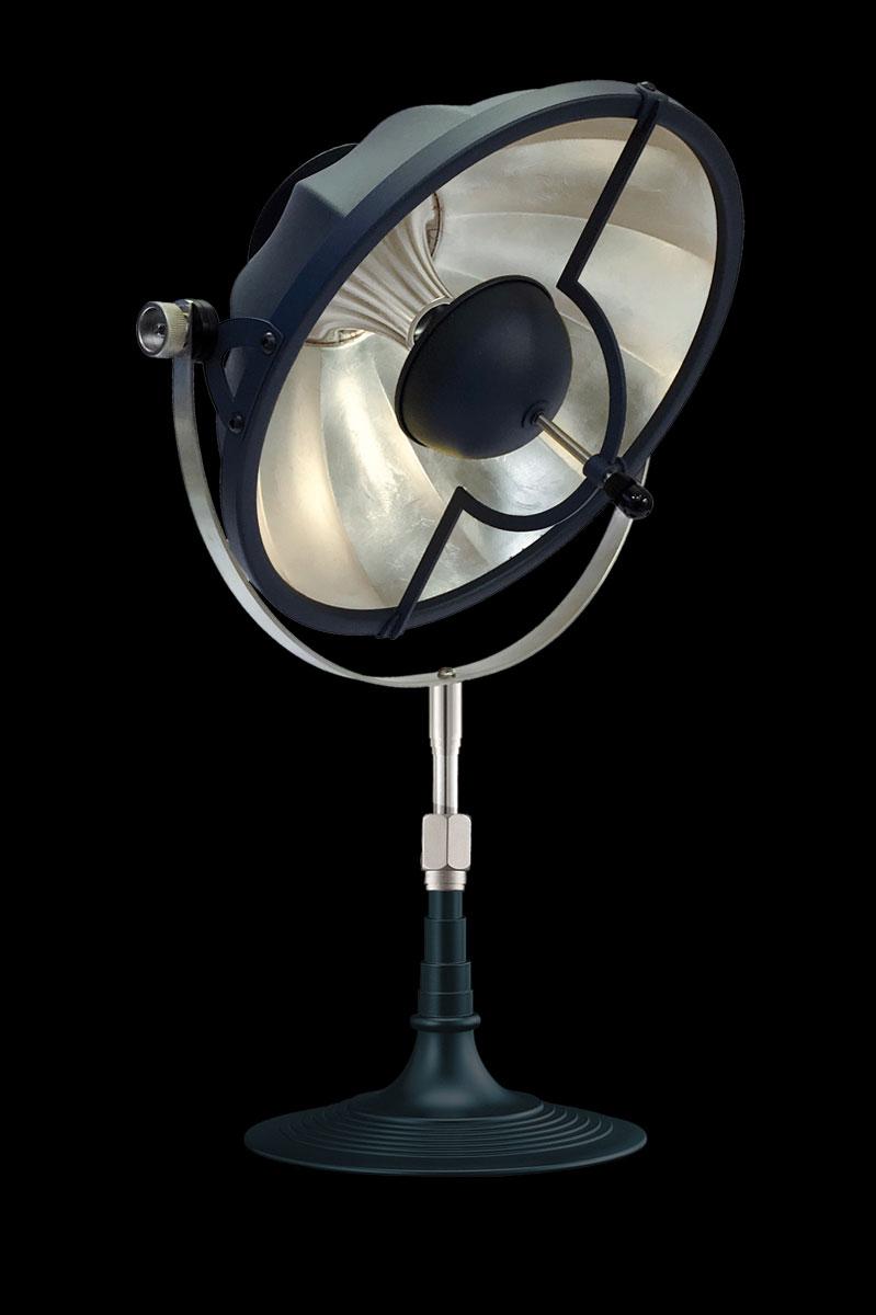 Lámpara de mesa Fortuny Armilla 32 azul pastel y pan de plata