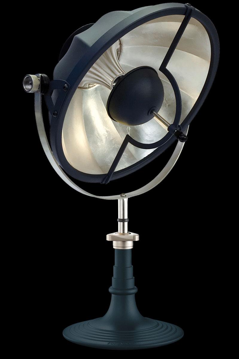 Lámpara de mesa Fortuny Armilla 41 azul pastel y pan de plata