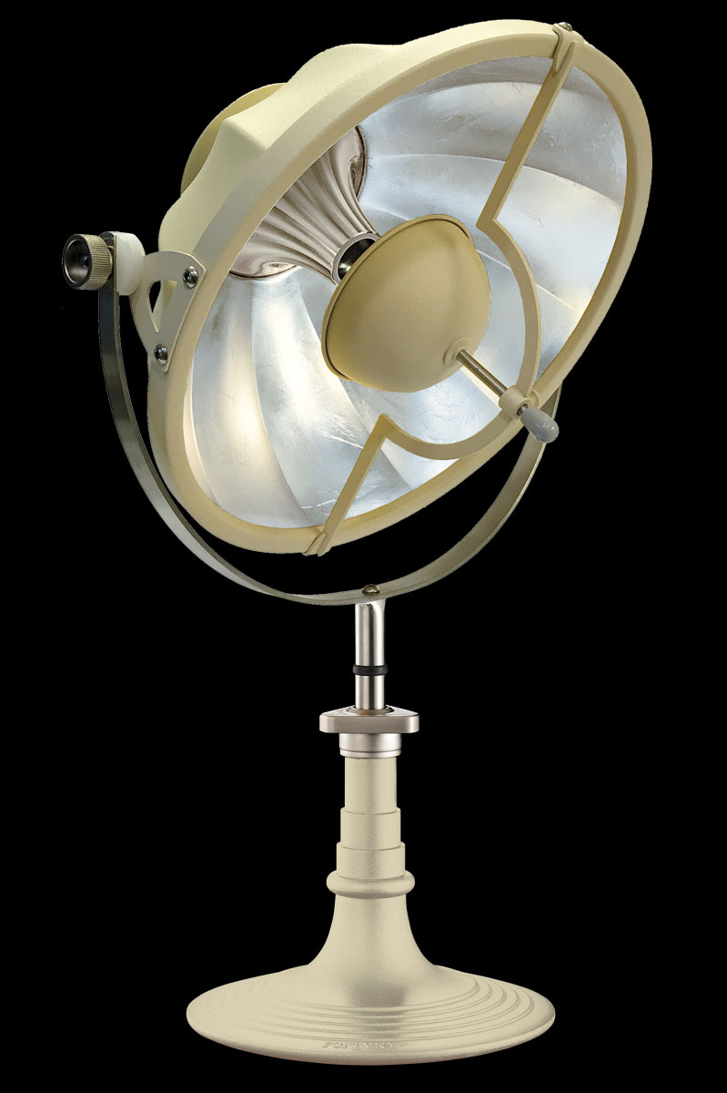 Lámpara de mesa Fortuny Armilla 41 de color cuarzo y pan de plata