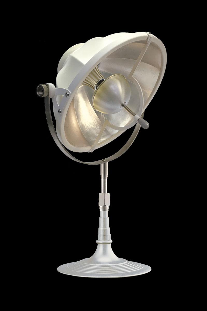 Lámpara de mesa Fortuny Armilla 32 blanca y pan de plata