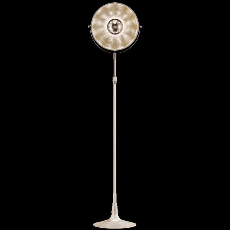 Lámpara de pie Fortuny Atelier 32 blanca y pan de plata