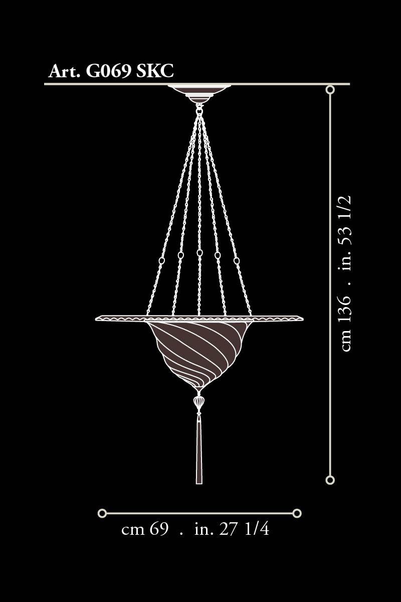 Lámpara Samarkanda de cristal con anillo metálico dimensiones
