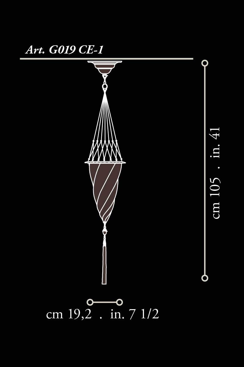 Fortuny Cesendello suspendido de cristal dimensiones