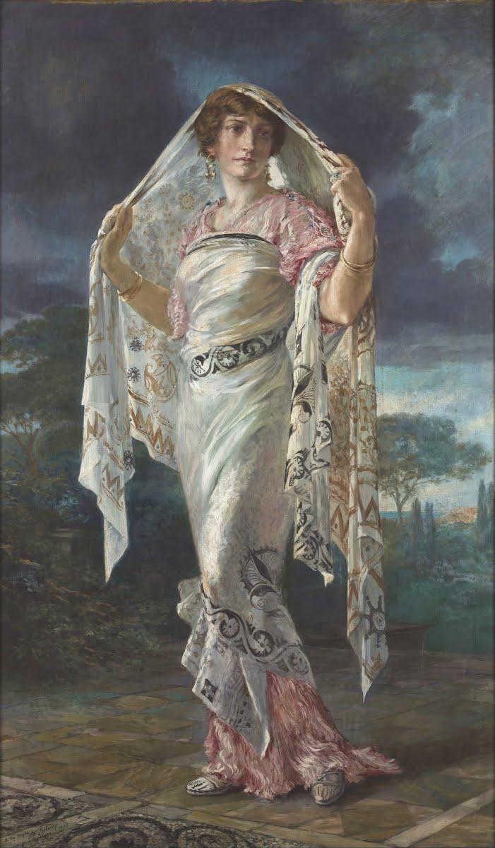 Un retrato de Henriette Nigrin con un vestido de Delphos y un chal de Knossos por Mariano Fortuny