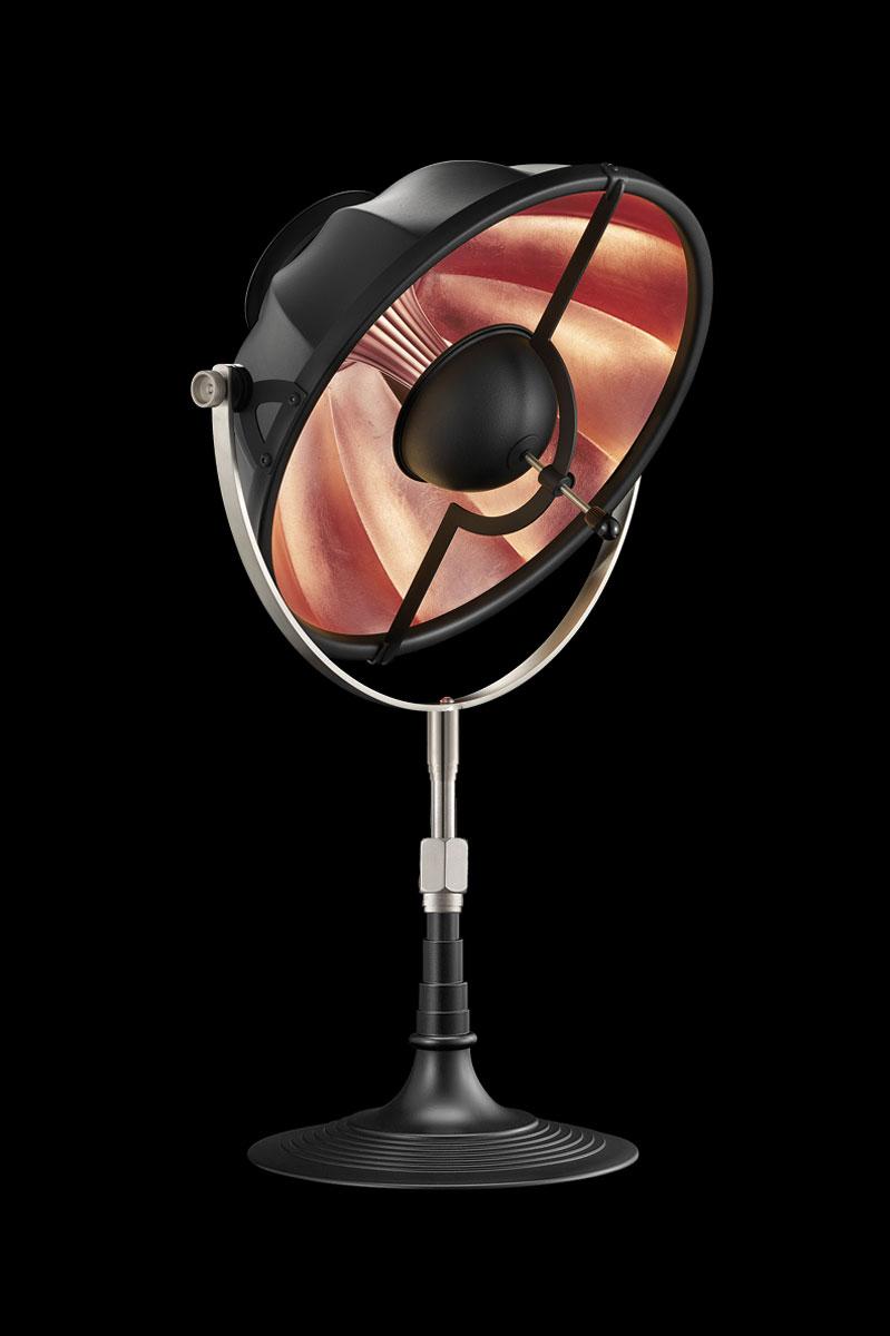 Lámpara de mesa Fortuny Armilla 32 negro y pan de cobre