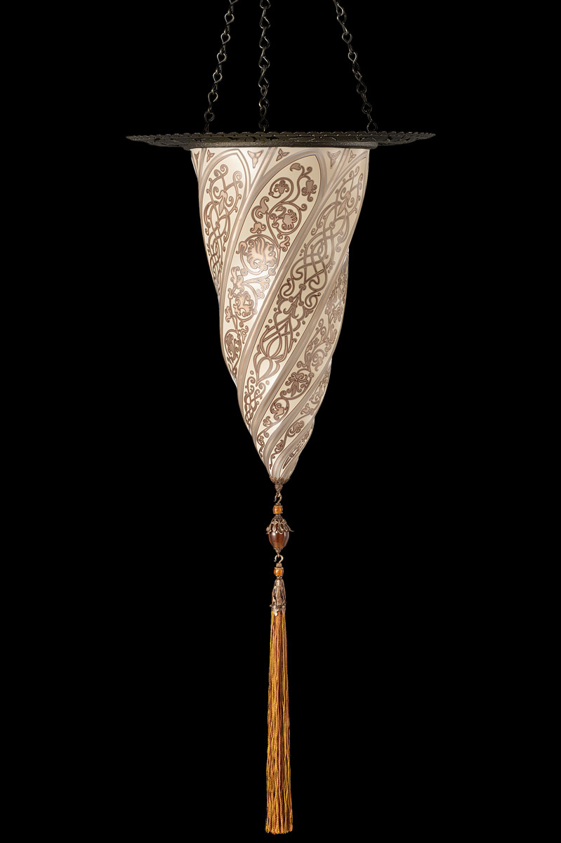 Fortuny Cesendello glass wall silver lamp with metal ring