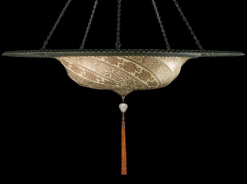 Lámpara de cristal Scudo Saraceno plateada con anillo metálico