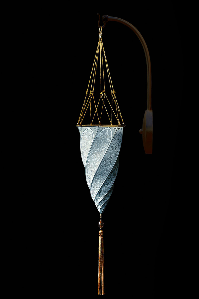 Lámpara Fortuny Cesendello de seda azul claro de pared de arco