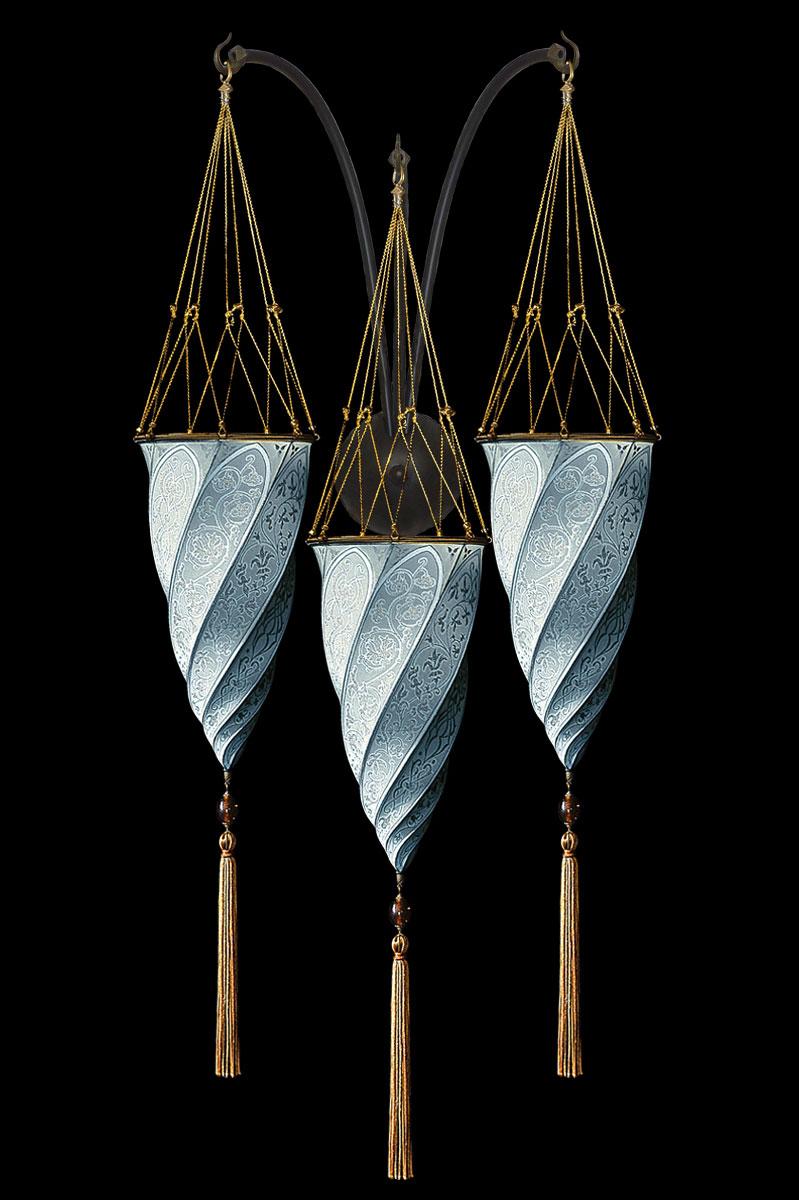 Lámpara Fortuny Cesendello de seda azul claro de pared de triple arco