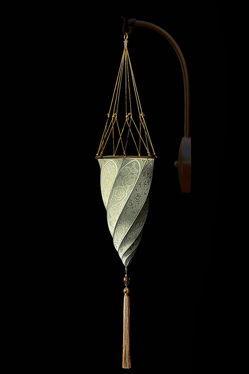 Lámpara Cesendello de seda gris salvia de pared de arco