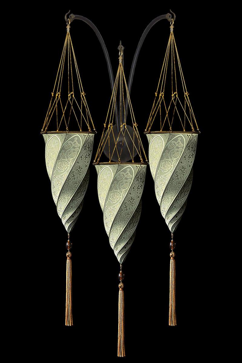 Lámpara Fortuny Cesendello de seda gris salvia de pared de triple arco