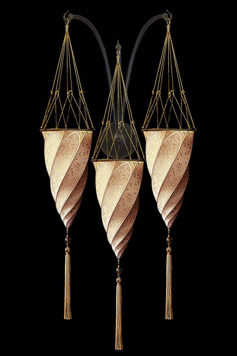 Lámpara Fortuny Cesendello de seda salmón de pared de triple arco