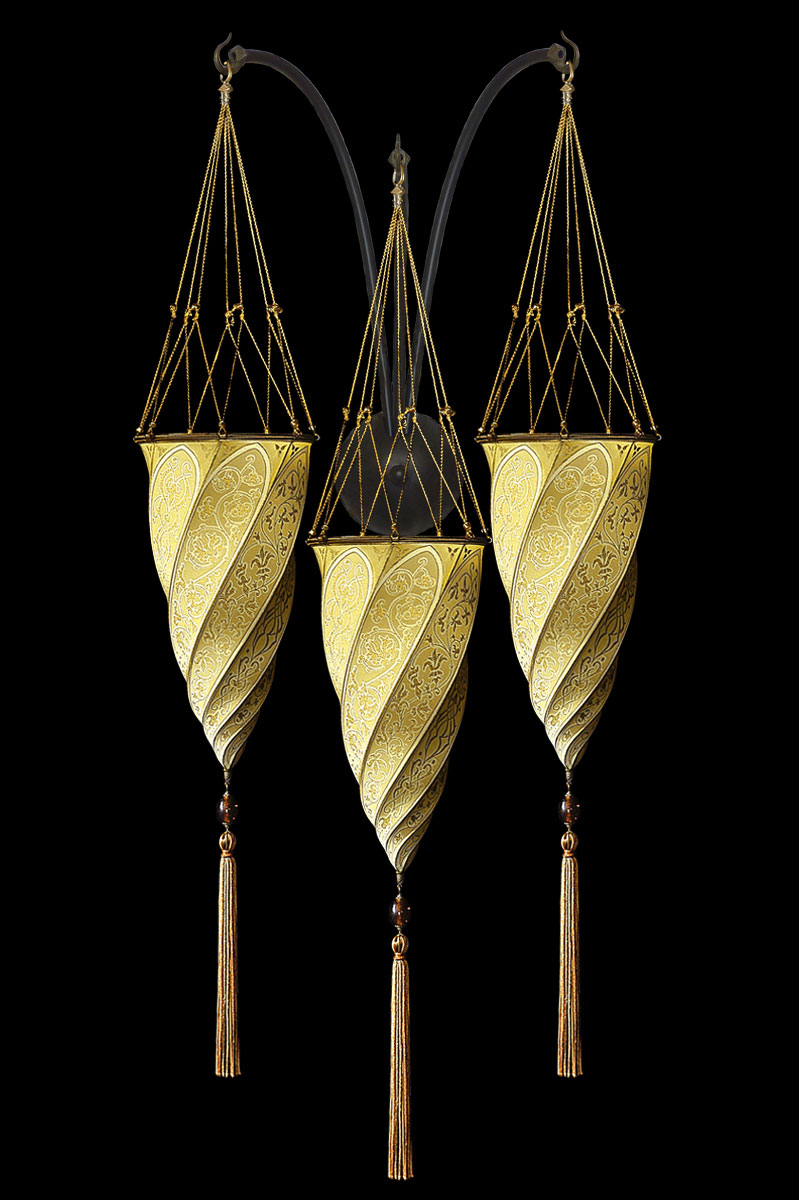 Lámpara Fortuny Cesendello de seda amarillo ocre de pared de triple arco