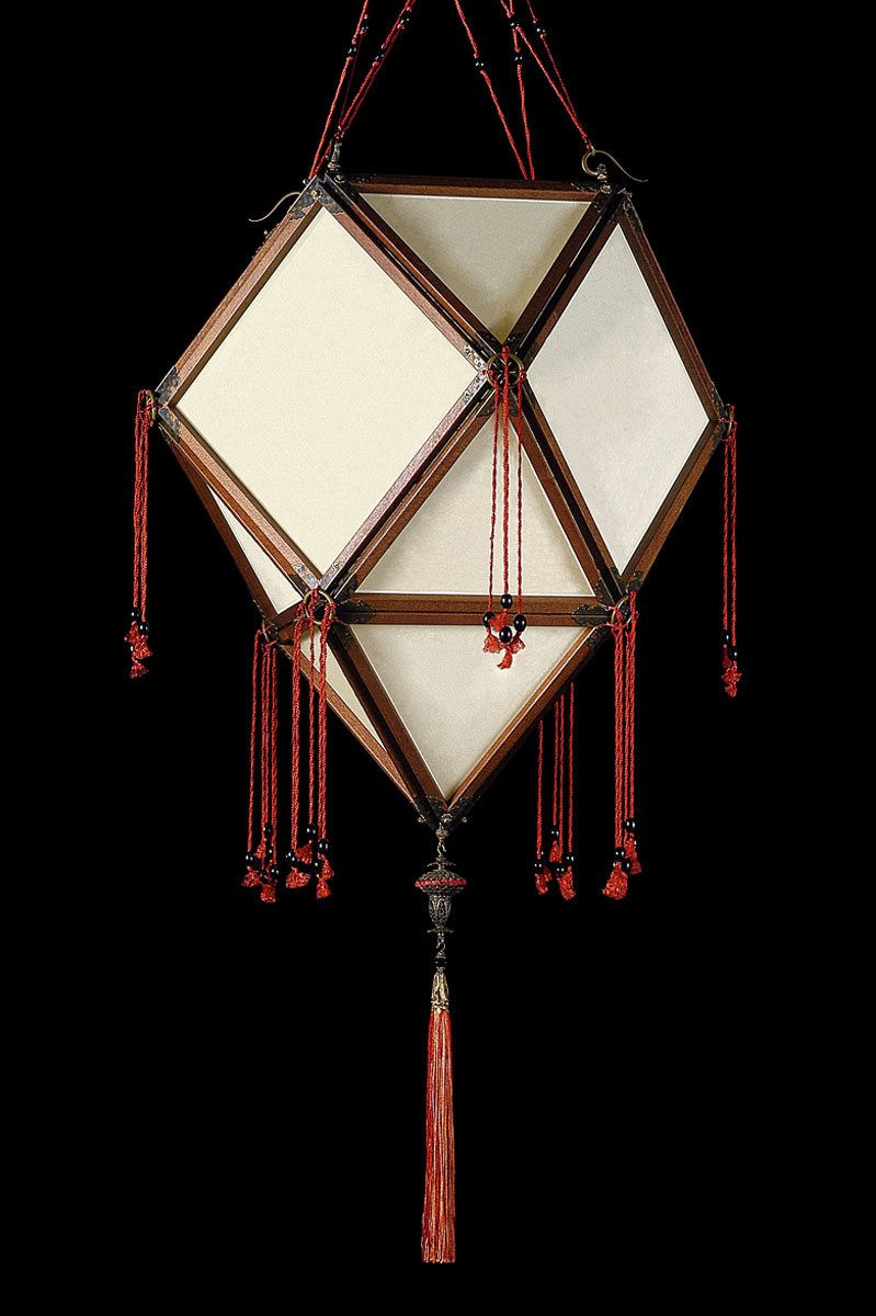 Lámpara de seda Fortuny Concubine Imperiale Plain con estructura de madera