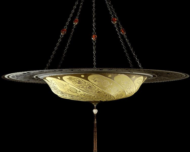 Lámpara Scudo Saraceno Classic de seda amarillo ocre con anillo metálico