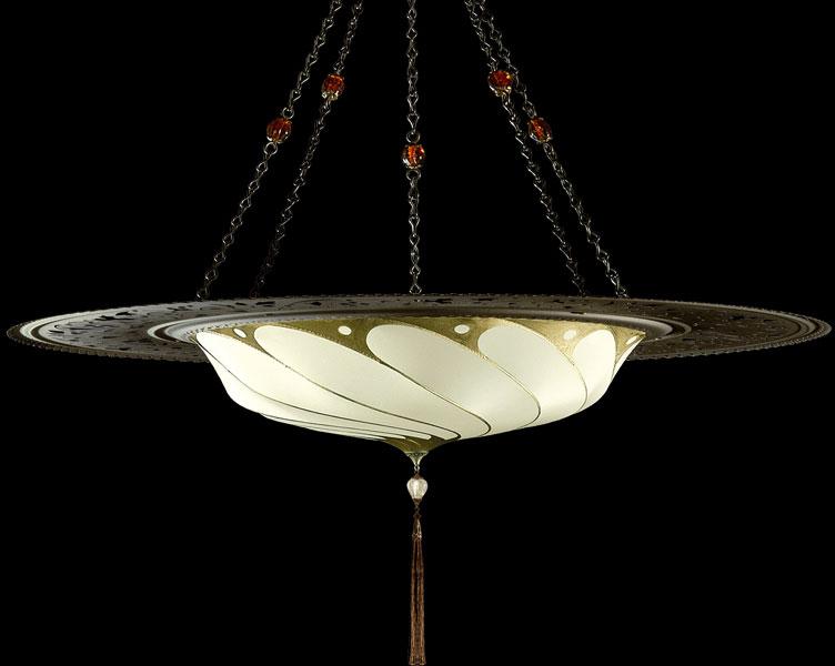 Lámpara Fortuny Scudo Saraceno Plain de seda marfil con anillo metálico