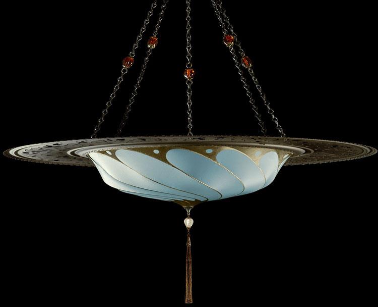 Lámpara Fortuny Scudo Saraceno Plain de seda azul claro con anillo metálico