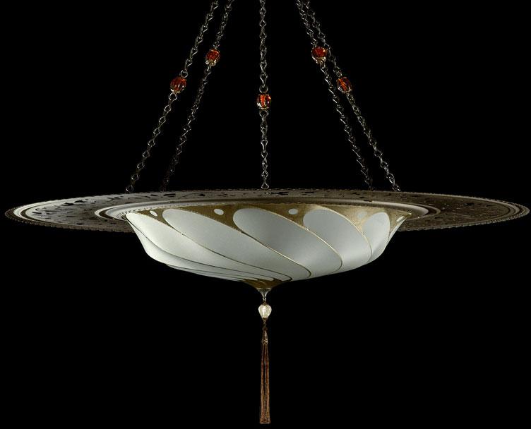 Lámpara Fortuny Scudo Saraceno Plain de seda gris salvia con anillo metálico