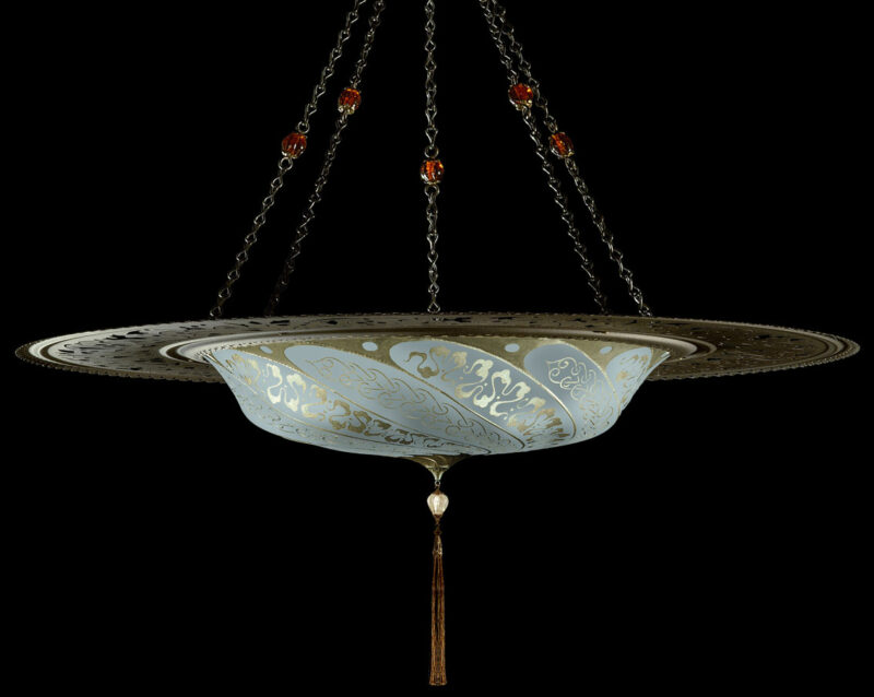 Fortuny Scudo Saraceno Serpentine light blue silk lamp with metal ring