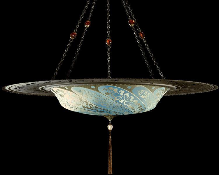 Lámpara Fortuny Scudo Saraceno Serpentine de seda azul claro con anillo metálico