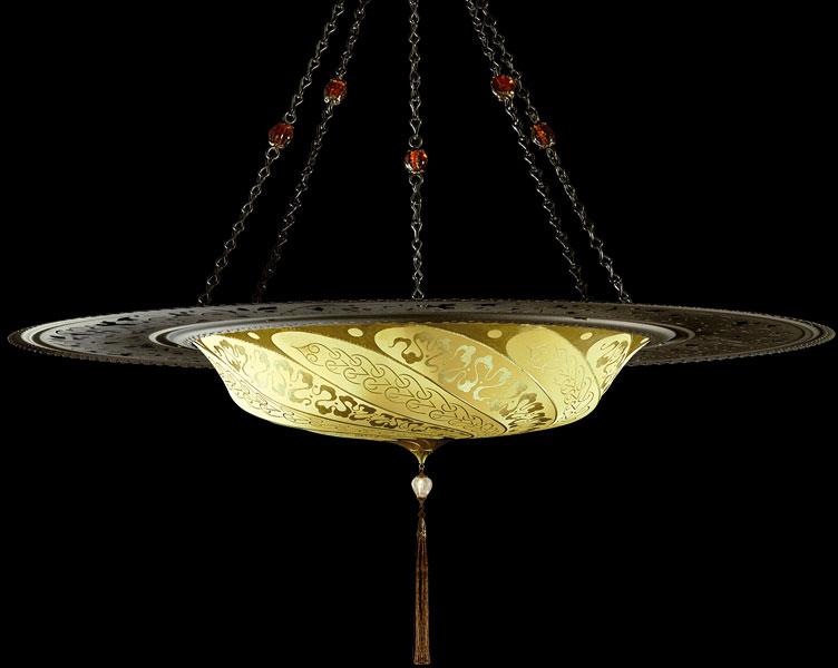 Lámpara Fortuny Scudo Saraceno Serpentine de seda amarillo ocre con anillo metálico