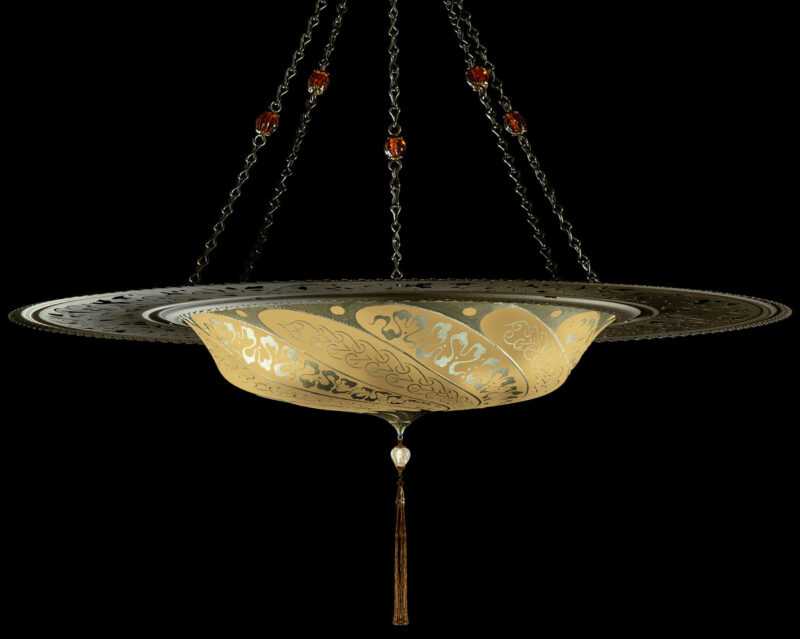 Fortuny Scudo Saraceno Serpentine salmon silk lamp with metal ring