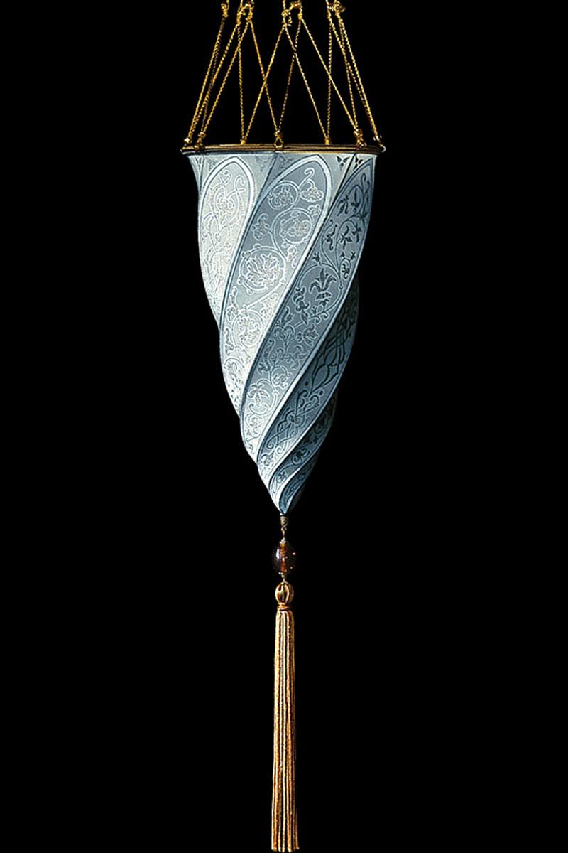 Lámpara de seda azul claro Fortuny Cesendello