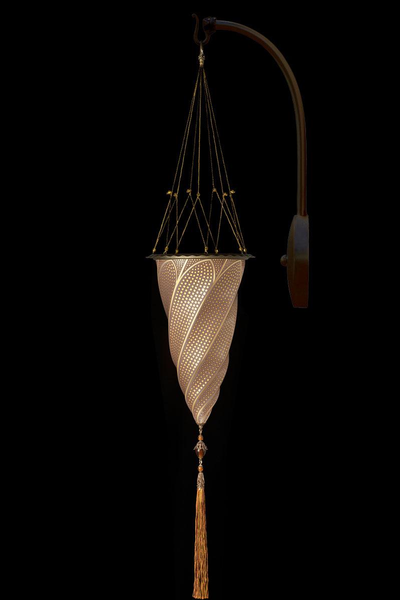 Lámpara Fortuny Cesendello de mosaico de cristal dorado de pared de arco