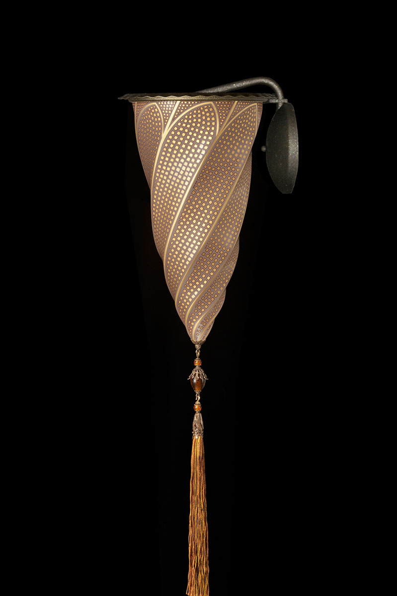 Lámpara Fortuny Cesendello de cristal aplique mosaico dorado