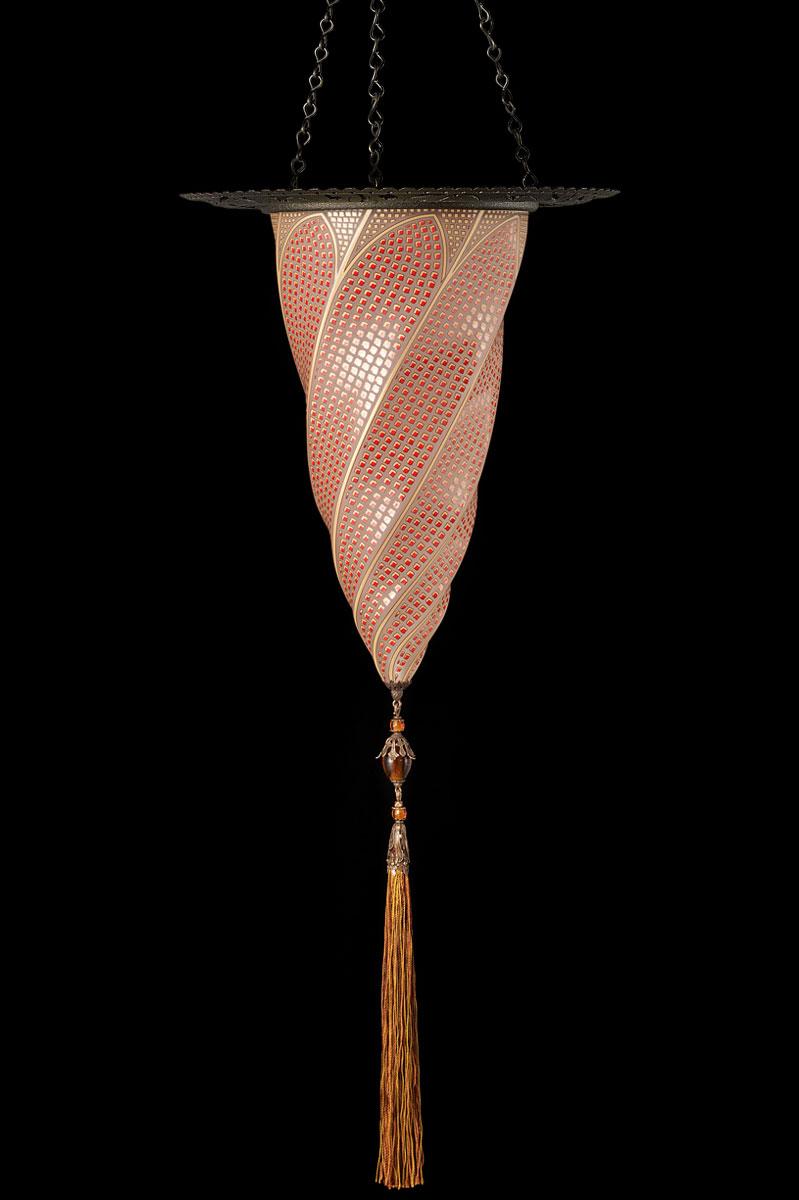 Lámpara Cesendello de cristal mosaico rojo con anillo metálico
