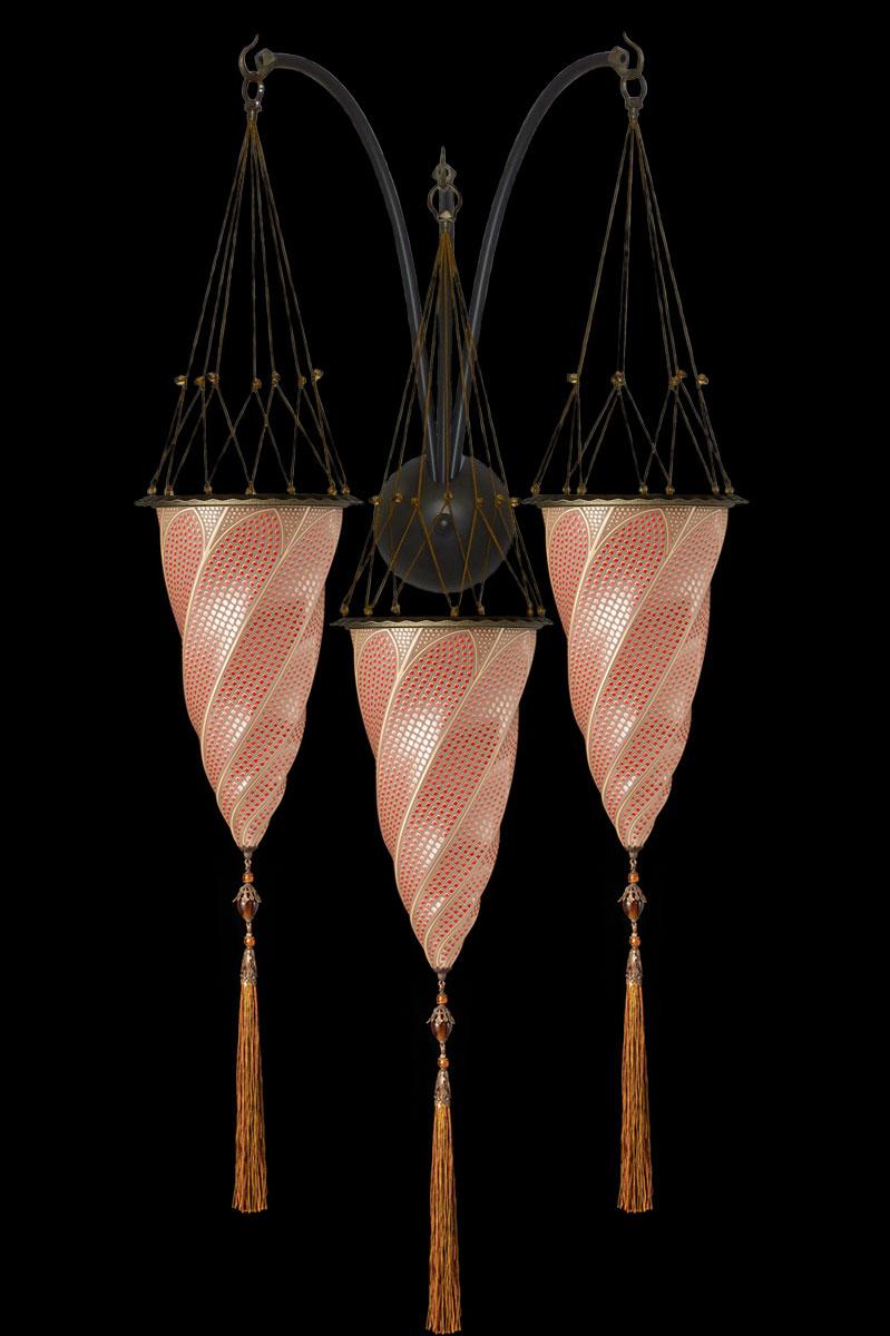 Lámpara Fortuny Cesendello de cristal mosaico rojo de triple arco