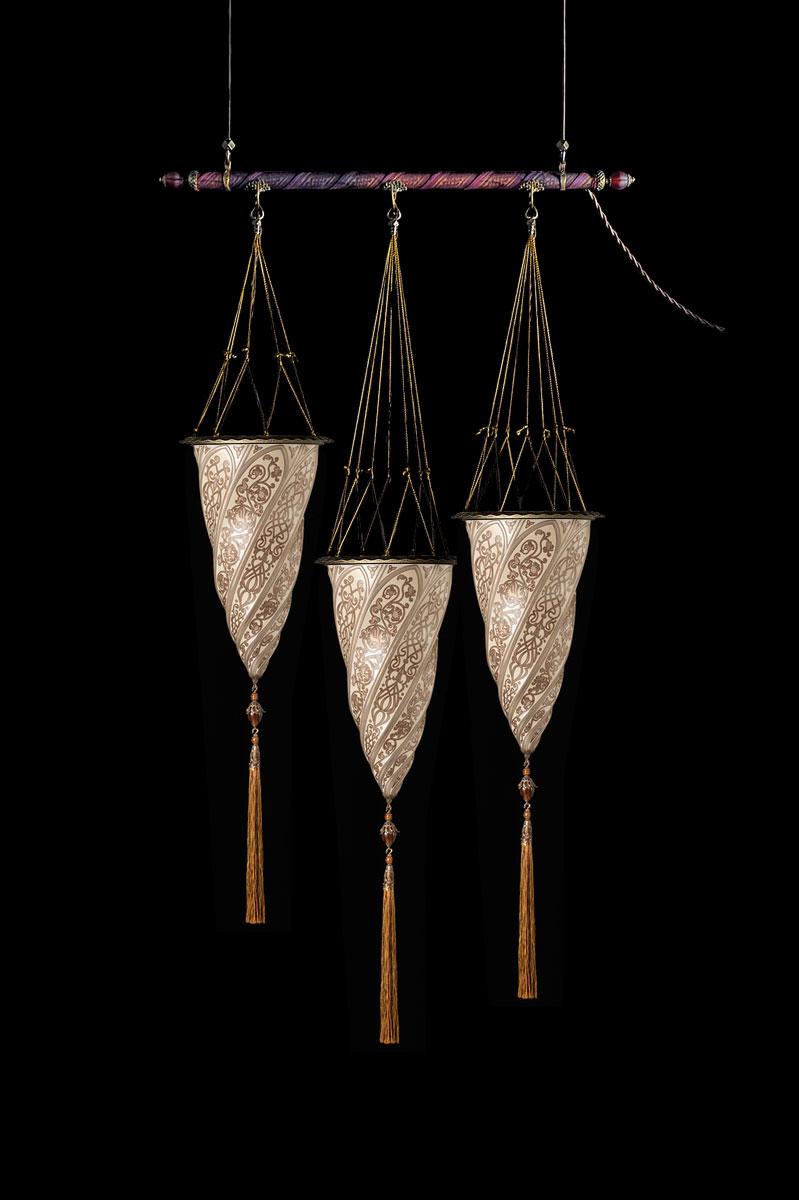 Lámpara Fortuny Cesendello de cristal plateado en barra con 3 puntos de luz