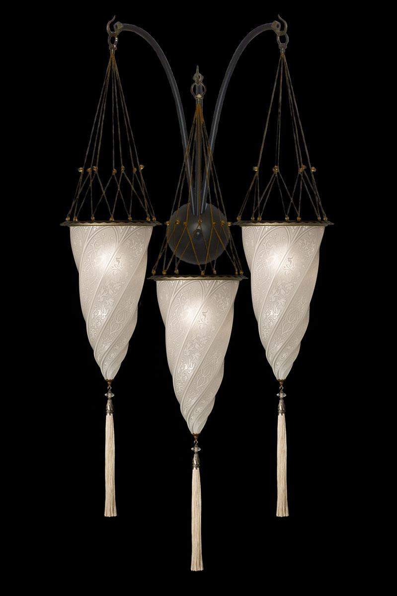 Lámpara Fortuny Cesendello de cristal blanco de triple arco