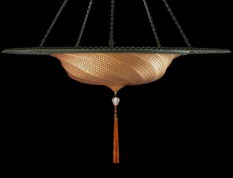 Lámpara Fortuny Scudo Saraceno de cristal de mosaico dorado con anillo metálico