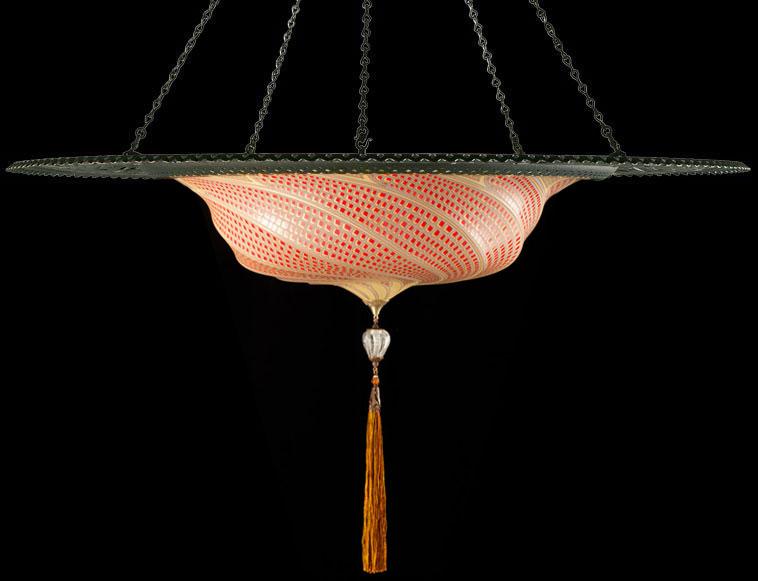 Lámpara Fortuny Scudo Saraceno de cristal de mosaico rojo con anillo metálico