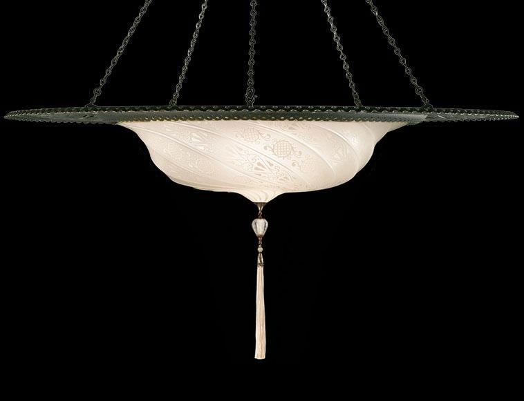 Lámpara Fortuny Scudo Saraceno clásica de cristal blanco con anillo metálico