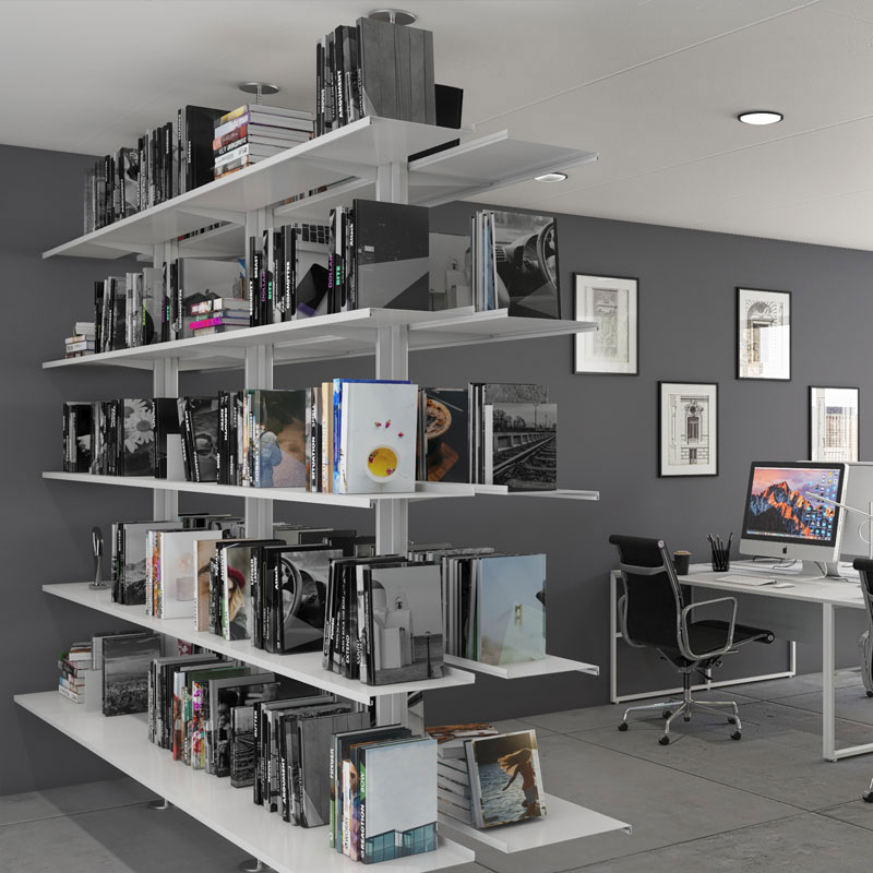 Pallucco Continua modular double face office bookcase squared