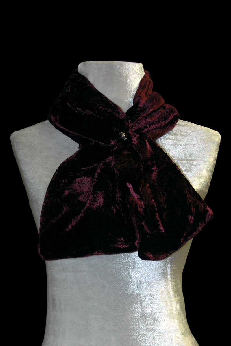 Fortuny dark plum furrowed velvet scarf with Murano glass bead