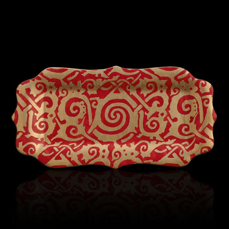 Bandeja Fortuny Maori mediana rectangular roja