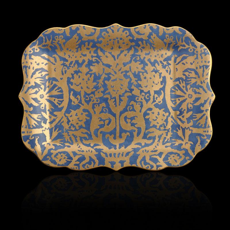Bandeja Fortuny Pergolesi rectangular grande azul turquesa