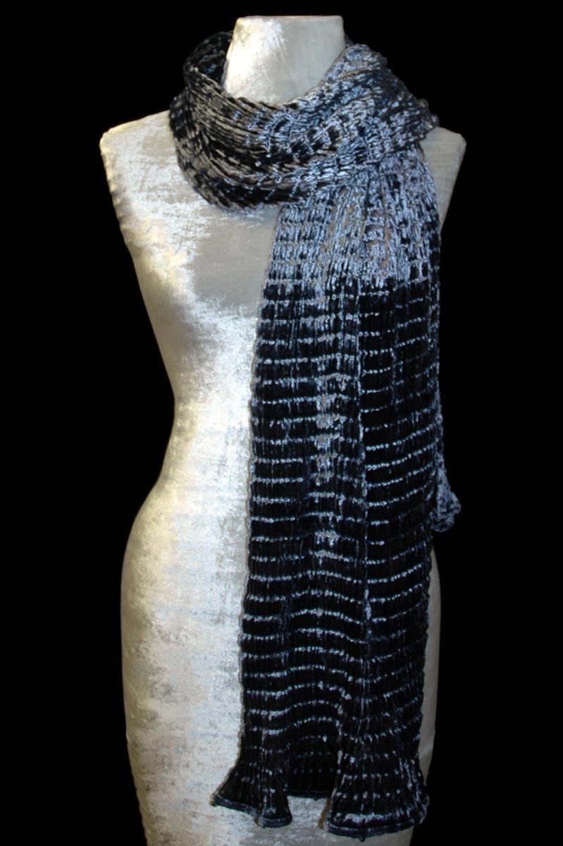 Fortuny blue grey pleated velvet scarf