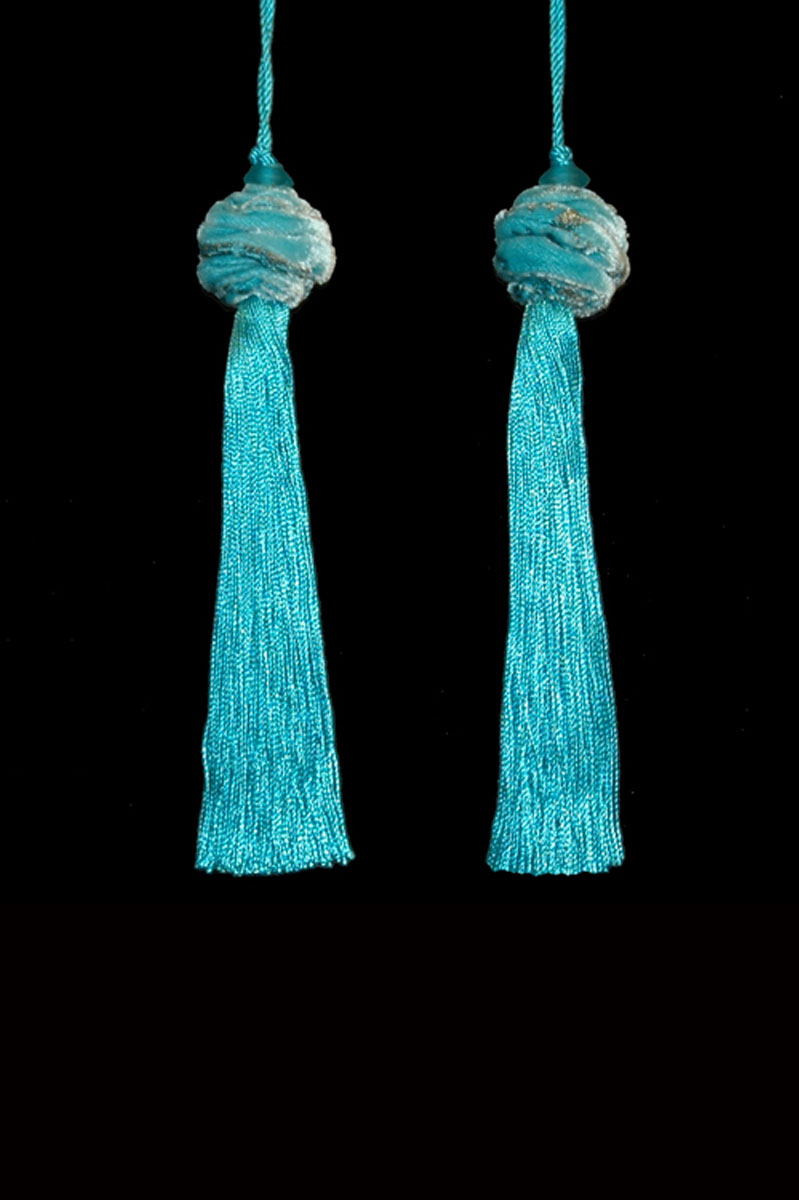 Venetia Studium Turbante couple of turquoise blue key tassels
