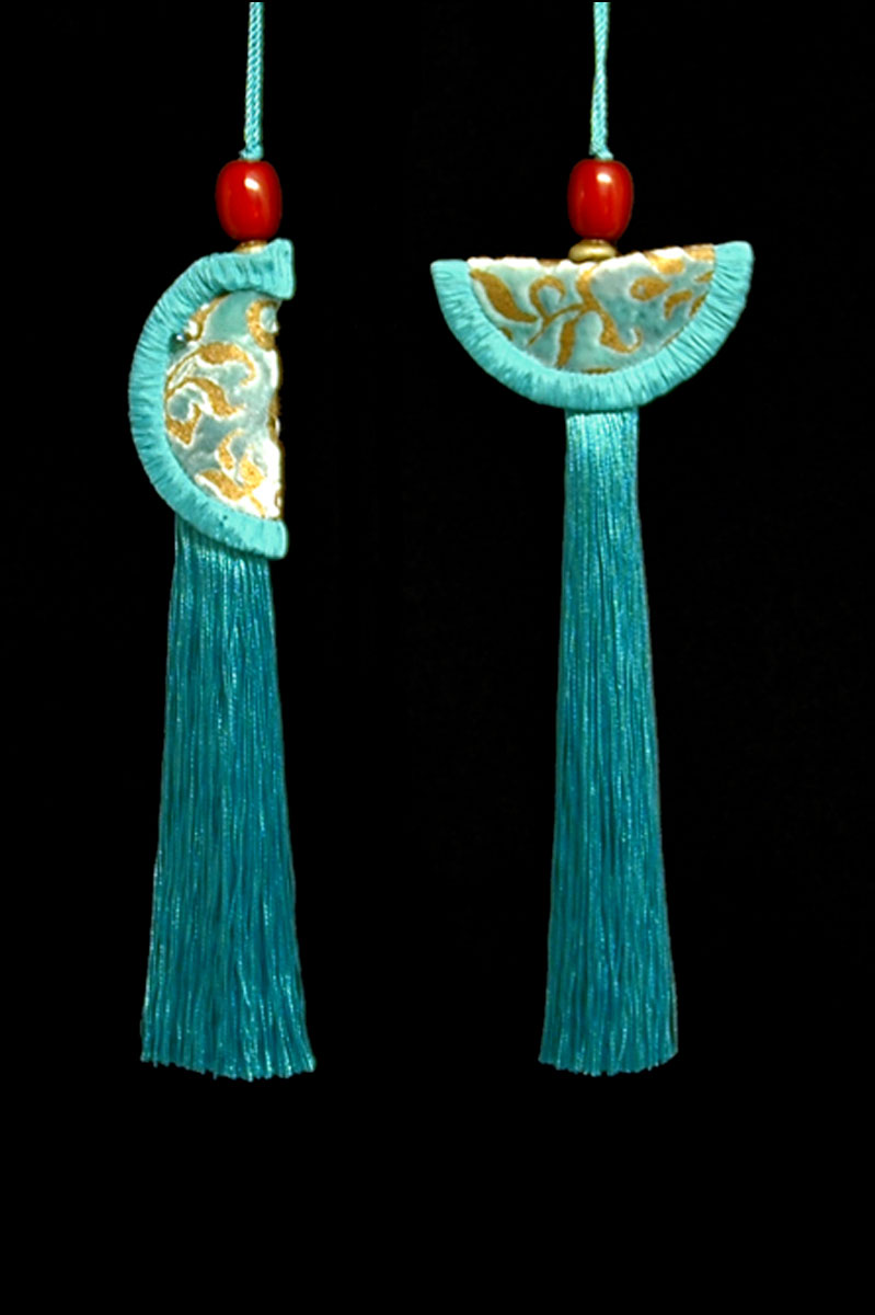 Venetia Studium couple of turquoise blue Geisha & Samurai key tassels
