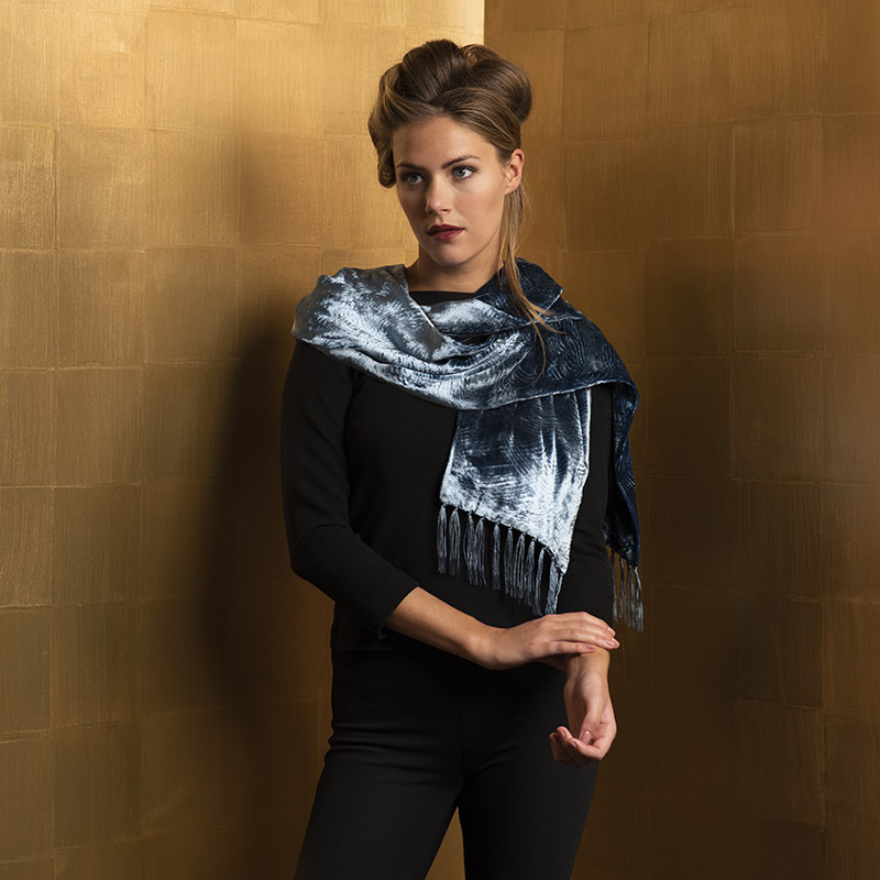 Fortuny furrowed velvet scarves with fringes