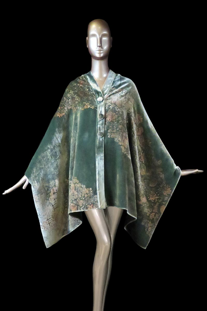 Fortuny jade printed velvet stole with buttons front