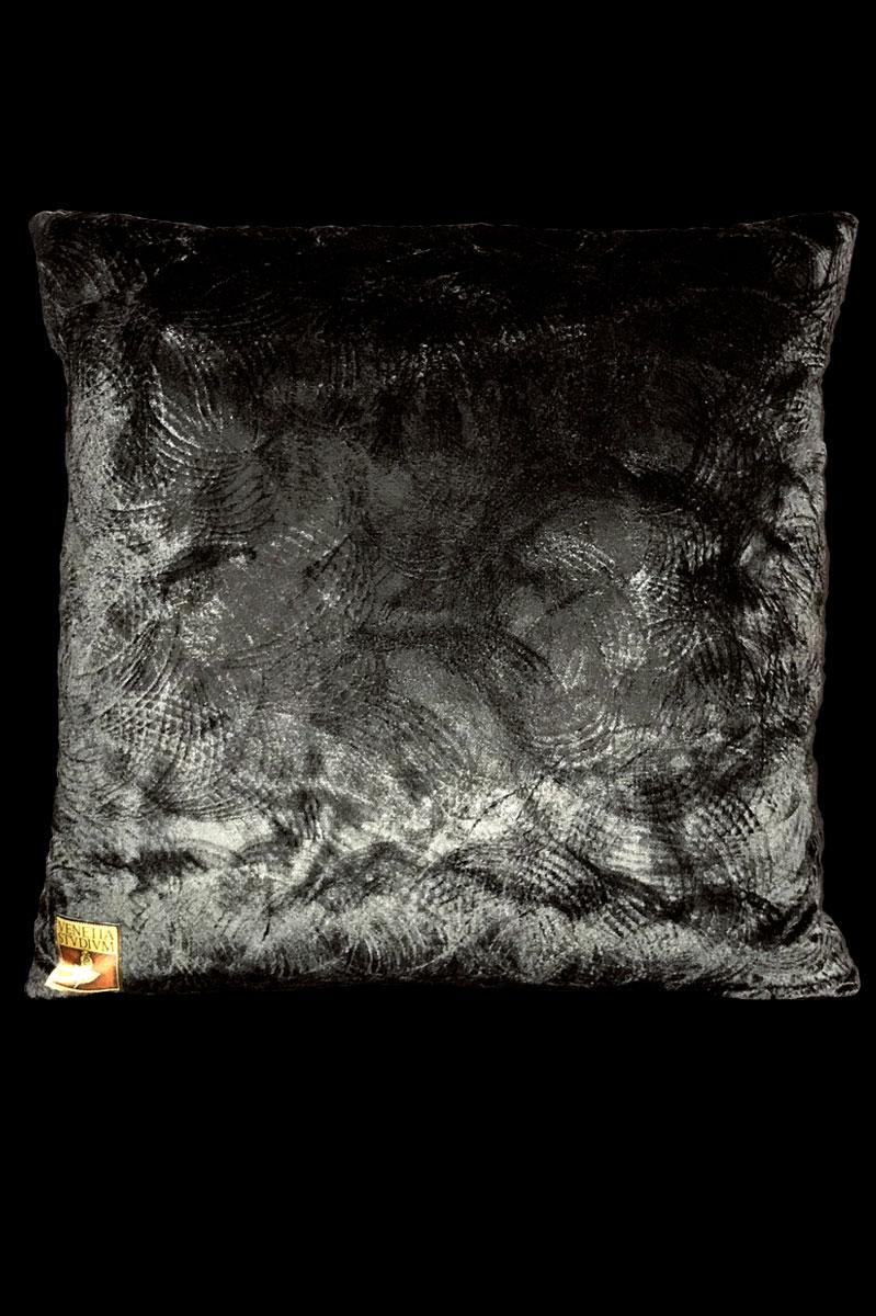 Cojín Venetia Studium cuadrado de terciopelo negro estampado